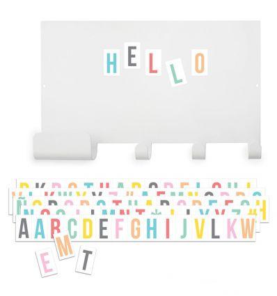 tresxics - appendiabiti lavagna magnetica + lettere multicolor