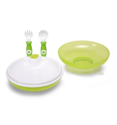 childhome - warming plate, fork & spoon (green)