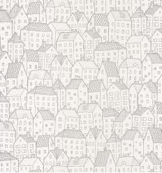 caselio - wallpaper houses maison (silver)