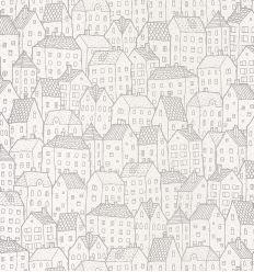 CASELIO wallpaper houses maison (silver)