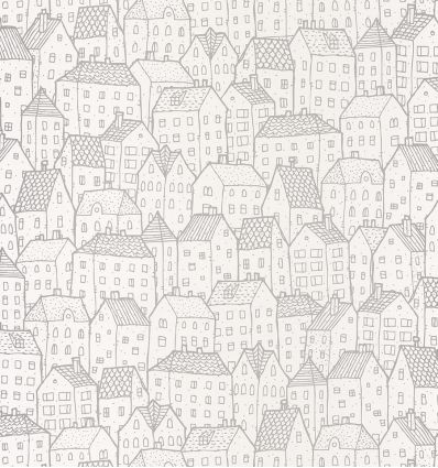 caselio - wallpaper houses maison (silver)