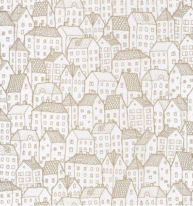 CASELIO carta da parati casette maison (oro)