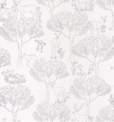 caselio - carta da parati bosco biche (argento)