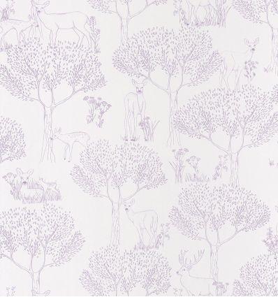 caselio - carta da parati bosco biche (lilla)