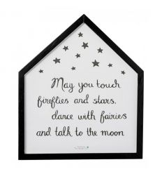 "bloomingville - quadro in legno casetta ""may you touch fireflies and stars…"""