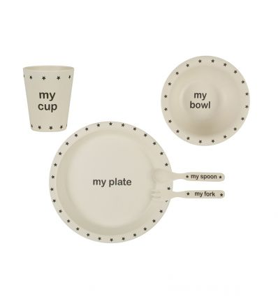 sass & belle - bamboo dinner set my black star
