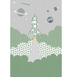 inke - murale carta da parati razzo racket groen