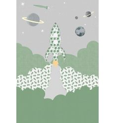 inke - wall print wallpaper rocket raket groen
