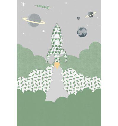 inke - wall print wallpaper rocket raket groen