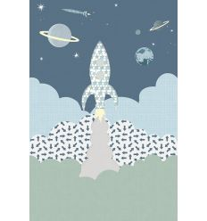 inke - wall print wallpaper rocket raket blauw