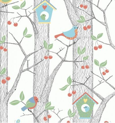borastapeter - wallpaper forest cherry friends (red)