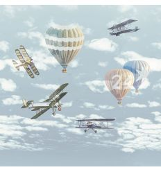 eijffinger - wall print wallpaper airplanes and balloons