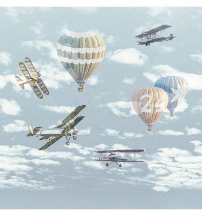 eijffinger - pannello carta da parati aeroplani e mongolfiere