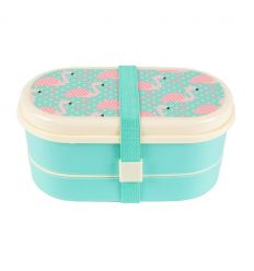 lunch box with cutlery flamingos
