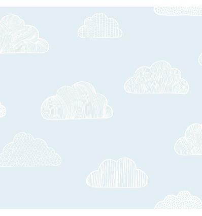 borastapeter - carta da parati nuvole claudia (celeste)