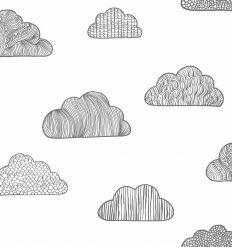 borastapeter - carta da parati nuvole claudia (nero/off-white)