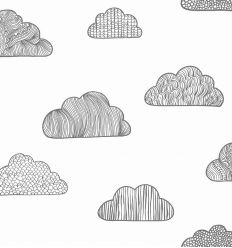 borastapeter - wallpaper clouds (black/off-white)