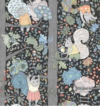 borastapeter - carta da parati scoiattoli charlie (nero)