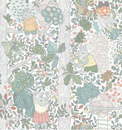 borastapeter - wallpaper squirrels charlie (white)