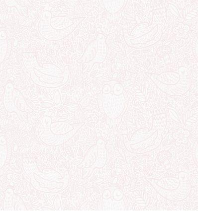 borastapeter - carta da parati uccellini buddy birds (rosa)