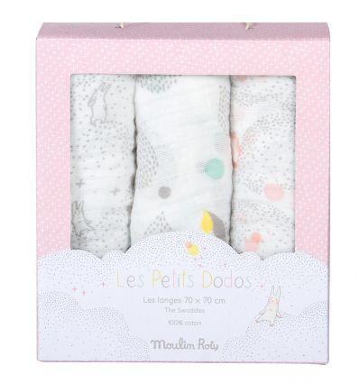 moulin roty - set di 3 teli di mussola les petit dodos (rosa)