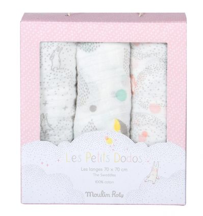 moulin roty - set of 3 swaddles les petit dodos (rose)