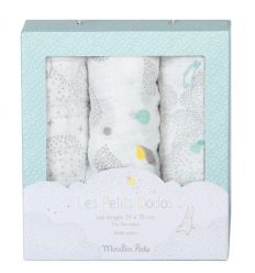 moulin roty - set of 3 swaddles les petit dodos (light blue)