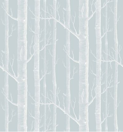 cole & son - carta da parati woods (powder blue/white)