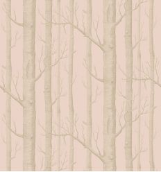 cole & son - wallpaper woods (powder pink/silver)