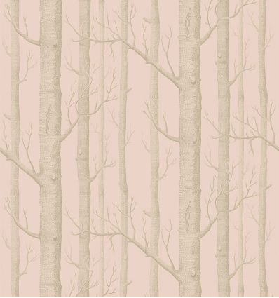 cole & son - carta da parati woods (powder pink/silver)