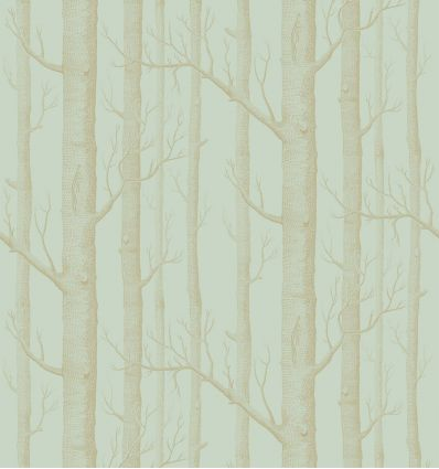 cole & son - carta da parati woods (eau de nil/gold)