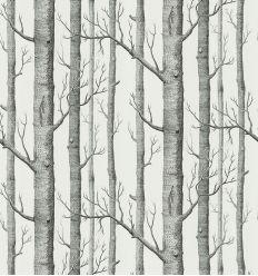 cole & son - wallpaper woods (black/white)