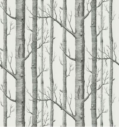 cole & son - carta da parati woods (black/white)
