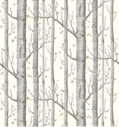 cole & son - wallpaper woods & stars (black/white)