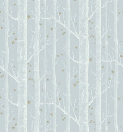 cole & son - carta da parati woods & stars (powder blue/white/gold)