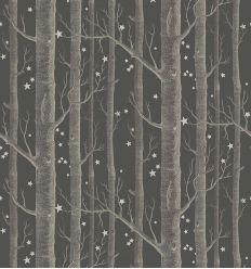 cole & son - carta da parati woods & stars (inky black/silver)