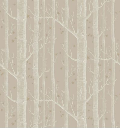 cole & son - carta da parati woods & stars (linen/white/gold)