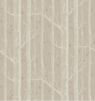 cole & son - wallpaper woods & stars (linen/white/gold)