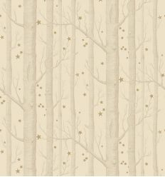 cole & son - carta da parati woods & stars (ivory/gold)