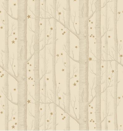 cole & son - carta da parati woods & stars (ivory/gold)