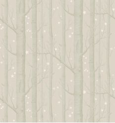 cole & son - carta da parati woods & stars (grey/gold/white)