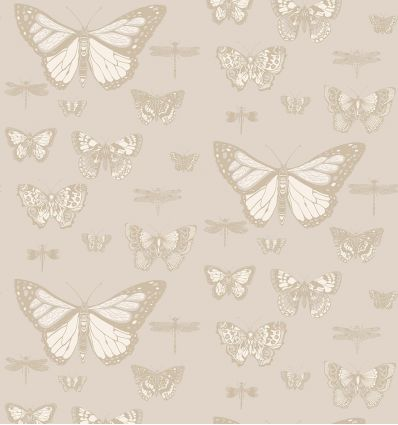 cole & son - carta da parati butterflies & dragonflies (grey/gold)