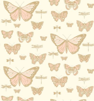 cole & son - carta da parati butterflies & dragonflies (white/pink/gold)