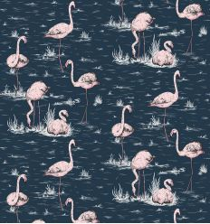 cole & son - carta da parati fenicotteri flamingos (ink/pink)
