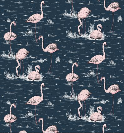 cole & son - wallpaper flamingos (ink/pink)