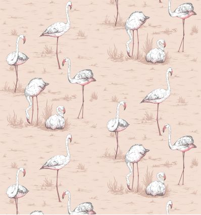 cole & son - carta da parati fenicotteri flamingos (powder pink)