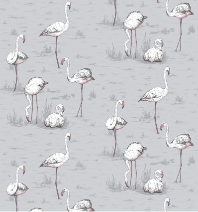 cole & son - carta da parati fenicotteri flamingos (powder blue)