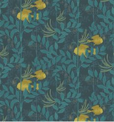 cole & son - wallpaper punchinello (blue teal/mustard)