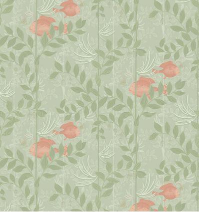 cole & son - carta da parati nautilus (verde oliva/rosa)