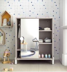montessori wardrobe with mirrored sliding door